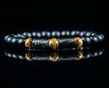 Herren Männer Armband aus Carbon Kohlenstoff Perlenarmband Onyx Schwarz elegant