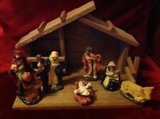 7 PIECE POTTERY 'NATIVITY SET WITH WOODEN STABLE' in GREAT USED CONDITION