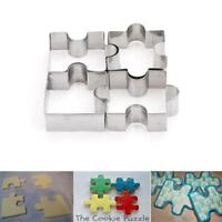 4x Stainless Steel Puzzle Cookie Cutter Cake Biscuit Pastry Baking Mold Tool FM