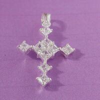 NEU Antik Stil Kreuz Kettenanhänger Echt 925 Sterling Silber Zirkonia Strass
