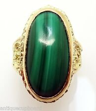 14K Yellow Gold Oval Genuine Natural Malachite Ring (#J3264)
