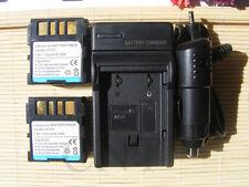 2 Battery+Charger for JVC BN-VF707 BN-VF707U Everio GZ-MG20U GZ-MG21U Camcorder