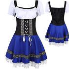 US German Oktoberfest Dirndl Bavarian Wench Beer Maids Costume Fancy Dress S-XL