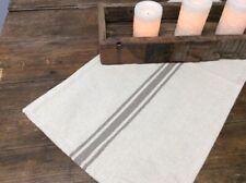 "Grain Sack Stripe in Gray & Ivory Table Runner 14"" W x  53"" L Farmhouse Kitchen"