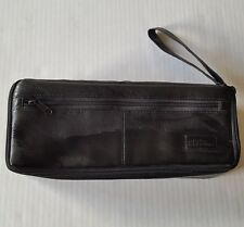 Audio Accents Cassette Carrying Case Holder Black Faux Leather Holds 15 Tapes