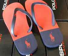 POLO RALPH LAUREN PONY SANDAL FLIP FLOPS SHOES~Navy Blue Red~Mens 13~NWT
