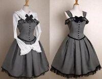 FJ50 NEW gothic lolita corset jumper grey dress victorian