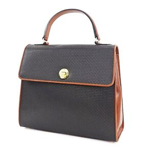 Authentic BALLY Black Canvas Brown Leather Hand Tote Bag Purse #30011