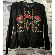 ZARA WOMAN Floral Embroidered Blouse Size XS