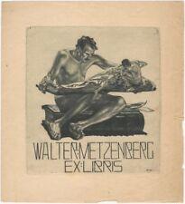 Large 1910 Alois Kolb Bookplate for Walter Metzenberg