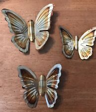 Vtg 3 Gold Tone Copper Metal Homco Butterflies Wall Set Home Interiors Butterfly