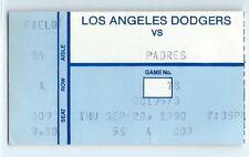Ramon Martinez 19th win of season ticket stub; Padres at Dodgers 9/20/1990