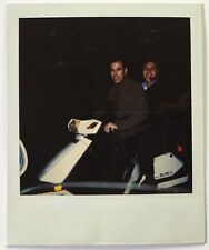 Vintage PHOTO Two Men Riding A White Moped Scooter At Night