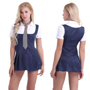#L Schoolgirl Student Costume Uniform Pleated Skirt Cosplay Outfit Fancy Dress
