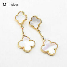 Two-motif white mother of pearl drop earrings  lucky flowers  in gold