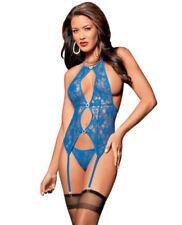 Conjuntos de lencería variada de mujer de color principal azul de encaje