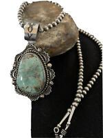 Stunning Mens Navajo Sterling Silver Royston Turquoise Necklace Pendant 01653