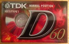 NEW & SEALED TDK D60 MINUTE CASSETTE TAPE