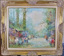 """F Wagner Impressionist O/C Painting Flower Sellers Carved Giltwood Frame 31x28"""""""