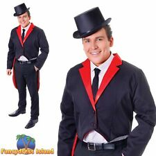 FANCY BLACK & RED TAILCOAT CIRCUS RING MASTER One Size Fancy Dress Costume