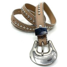 "B-Low The Belt NUDE BEIGE SILVER STUDDED LEATHER Belt 44"" Long MEDIUM"