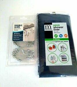 MAYTEX Double Glide Decorative Hooks Shower Curtain Blue Liner