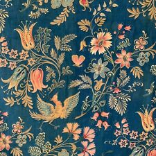 Antique French fabric Indienne / Jacobean floral bird  butterfly design GORGEOUS