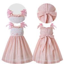 Kid Girl Hand-Smocked Dress Bow Striped Summer Sundress Wedding Party Bridesmaid