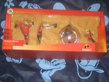 DISNEY STORE INCREDIBLES SET OF 4 COLLECTIBLE ORNAMENTS BRAND NEW