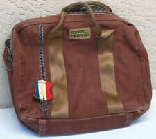 Bag Case Tote LANDS END SQUARE RIGGER CANVAS Duck Heavy Brown Carry Luggage  OLD 26f6912685e5e