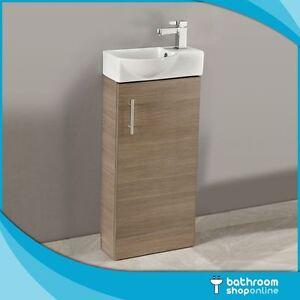 400mm Oak Floor Standing Bathroom Vanity Unit - Compact Cloakroom Rounded Basin