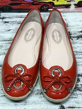 Elie Tahari Red Patent Leather Espadrille Flats Loafers Shoes Women's Size 40