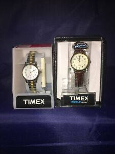 Timex Women's   Gold-Tone Case & Brown Leather Timex T2M828, Women's 2 Tone
