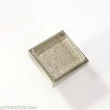 Metallic Gray Crystal Glass Cabinet Brush Nickel Knob Drawer Pull Square Modern