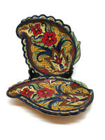Corsica Home Crown Jewel Sculptured Leaf Salad Plate Hand Painted Earthenware