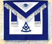 MASONIC PAST MASTER APRON BLUE WITH WHITE FRINGE HAND EMBROIDERED (MA-377-V)