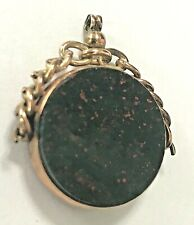 LARGE 1852 9ct 9.9g GOLD CARNELIAN & BLOODSTONE SPINNER SWIVEL FOB WATCH PENDANT