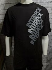 INTERPOL Gray Text Black Shirt - Size XL - NEW