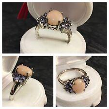 MDI Moderner Tansanitring Silberring Opal Tansanit 925er Silber Ring Opalring