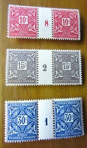 EBS French Sudan 1915 Postage Dues MNH** gutter pairs - interpanneaux (423