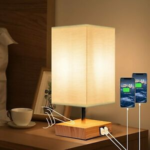 Touch Table Bedside Lamp, 2 USB Ports, Modern Nightstand Lamp with Square Fabric