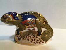 Royal Crown Derby Chameleon Porcelain Paperweight Gold Stopper