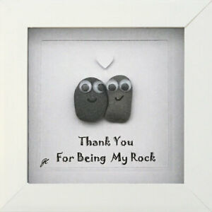 Thank You For Being My Rock Handmade Personalised Pebble Art Gifts Picture Love