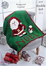 CROCHET PATTERN Father Christmas Santa Blanket & Snowman Toy DK King Cole 5117