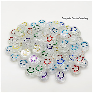 6MM X10MM TRANSPARENT/MULTI FLAT ROUND ACRYLIC HAPPY SMILEY FACE BEADS / CRAFTS