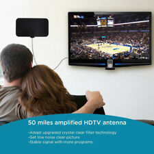 50 Miles Mini Thin Flat Indoor Antenna Aerial HD TV Fox Scout HDTV VHF UHF DTV