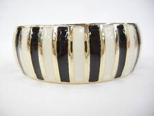 Modernist Black Ivory Gold Tone Striped Enamel Bracelet Spring Hinge  Bangle