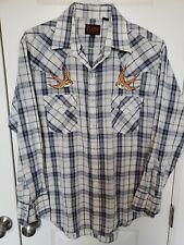 PLAINS Western Wear Pearl Snap Bird Swallow Embroidered Mens Plaid Shirt Sz L