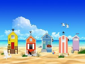 BEACH HUTS SEASIDE VIEW choose either print, t shirt transfer or sticker