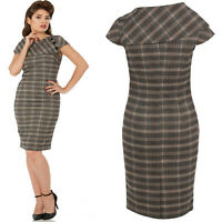 VOODOO VIXEN RENATA GREY TWEED  PENCIL ROCKABILLY VINTAGE DRESS ALTERNATIVE